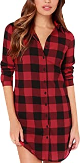 ZANZEA Camicia Donna Maglia Manica Lunga Abito Magliette Lunghe Tunica Taglie Forti Vestito Camicie Elegante Loose Top