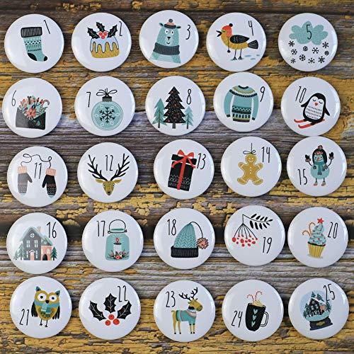 DAHI Adventskalender Zahlen Buttons Nummer 1-25 zum Weihnachtskalender selber basteln für Jutesäckchen, Anstecker Nadeln (25weiss)