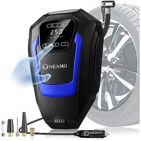 OneAmg Compresseur d'Air Portatif 12V, Compresseur Voiture d'air Digital Portable 12V 120W Auto Gonfleur Pneus, Electrique Compresseur Air Numérique avec Lampe LED, 3M Câble pour Voiture Vélo (Bleu)