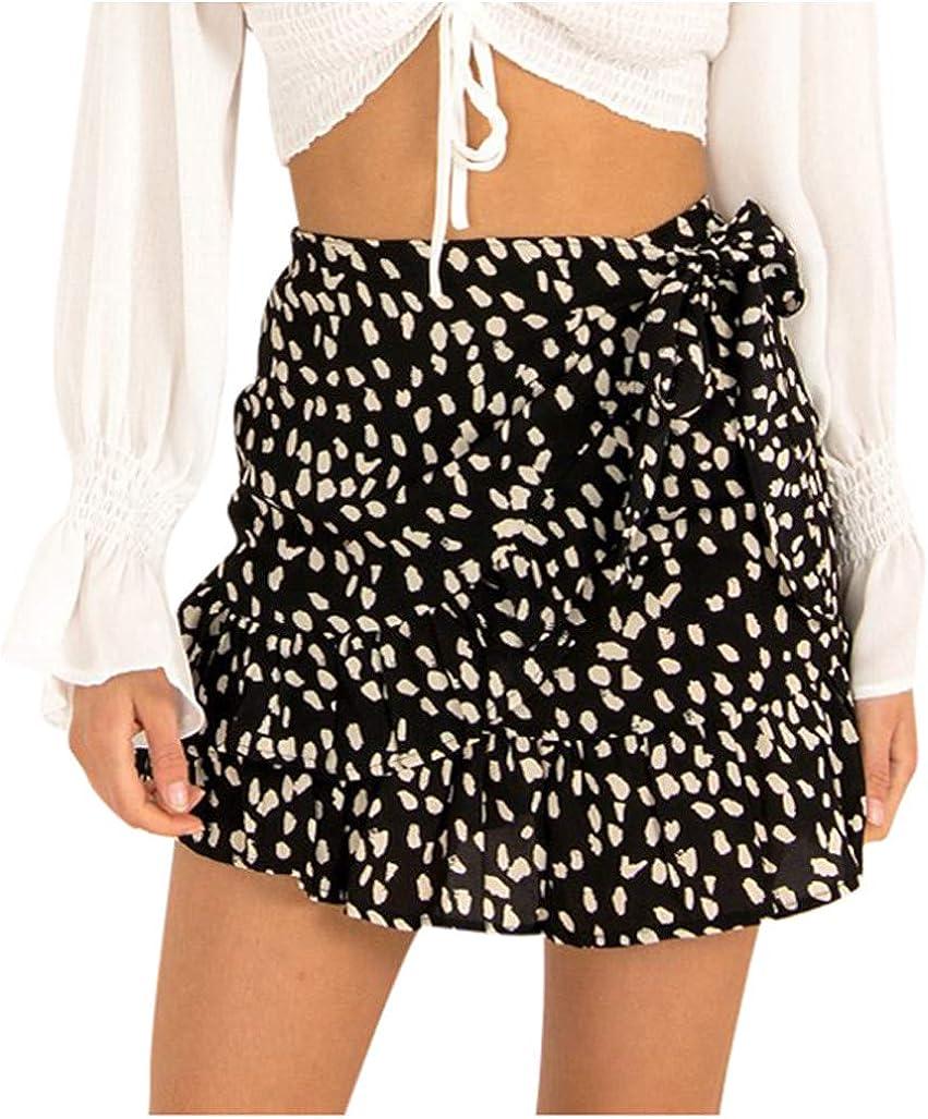 YOCheerful Elegant Cute Lace-Up Skirt, Women Summer Casual High Waist Floral Print Ruffled Beach Zipper Short Skirt