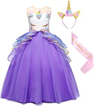 WonderBabe Toddler Girls Princess Costume for Halloween Dress up Birthday Party Outfits 1-10 Years