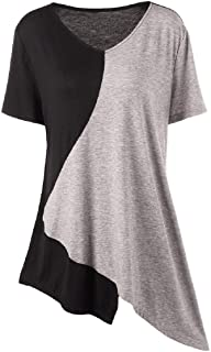 Womens Short Sleeve Fzitimx Summer New T-Shirts Large Size V Neck Loose Blouse Cotton Casual Tunic Tee Shirts