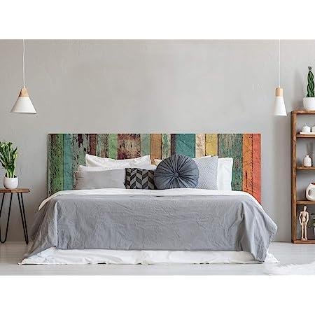 Cabecero Cama PVC Impresión Digital | Imitación Madera Multicolor Antigua | 150 x 60 cm | Cabecero Original y Económico