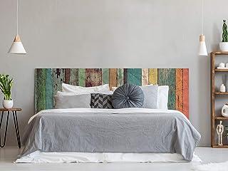 Cabecero Cama Pegasus Impresión Digital | Imitación Madera Multicolor Antigua 200 x 73 cm | Cabecero Original y Económico