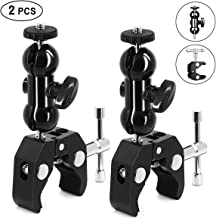 SLOW DOLPHIN Camera Clamp Mount Monitor Mount Bracket Super Clamp w/1/4 and 3/8 Thread with Cool Double Ballhead Arm Adapter Bottom Clamp for Ronin-M, Ronin MX, Freefly MOVI (2 PCS)