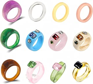 Resin Rings for Women Retro Acrylic Rings Colorful Rings Cute Fruit Rings Chunky Rings Set Knuckle Finger Stackable Joint ...