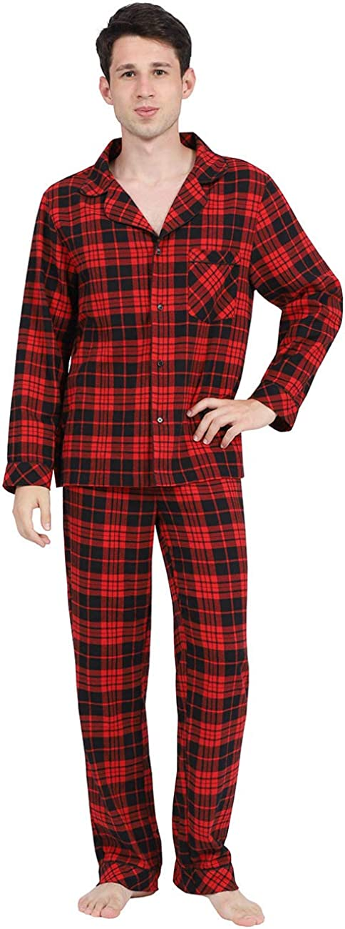 DISHANG Men's Button Down Pajama Set Plaid Long-Sleeve Top and Lounge Bottom Lightweight Sleepwear PJ Set for Men