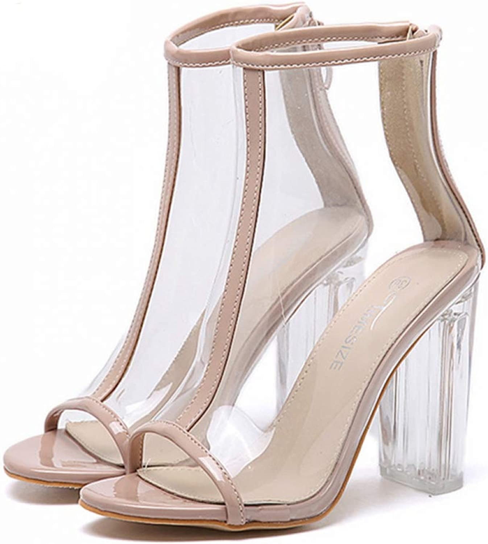 T-JULY Women's Sandal Fish Mouth Transparent High Heels Back Zipper Summer Gladiator Ladies Thick Block Heels shoes