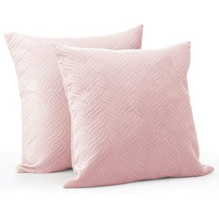 Amazon Com Mdesign Solid Color Decorative Quilted Velvet Throw Pillow Cover Protects Pillows Use On Beds Sofas Couches 20 X 20 Inches No Pillow Insert 2 Pack Blush Light Pink Home Kitchen