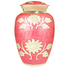 (Red) - Funeral Urn by Meilinxu - Cremation Urns for Human Ashes Adult and Memorial Urns - Hand Made in Brass & Hand-Engraved - Burial Urns At Home or in Niche at Columbarium (Bram Rose Red, Large Urn)