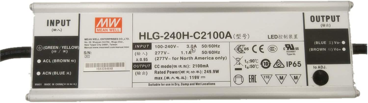 MW Mean Opening large release sale Well HLG-240H-C2100A 119V Single 2100mA Sw Many popular brands 249.9W Output