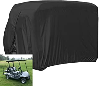 FLYMEI Waterproof Dust Prevention 2 Passenger Golf Cart Cover Fits EZ GO Club Car Yamaha Golf Carts(Black)