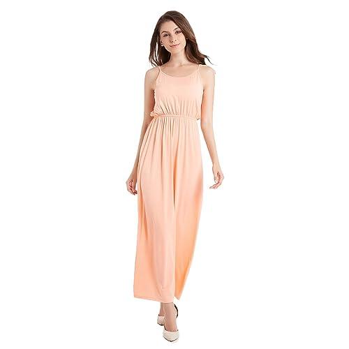 3df1b1e5785 TOTOFITS Women s Summer Cotton Knit Long Casual Maxi Dress Spaghetti Strap  Sleeveless Slip Cami Dresses