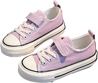Hopscotch Boys and Girls Canvas Solid Fixed Lace Sneaker in Purple Color