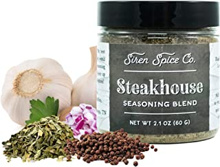 Siren Spice Steakhouse Seasoning Blend – Blend of Black Pepper, Garlic, Onion, Yellow Mustard, Lemon Peel, Oregano, Coriander, Natural Hickory Wood Smoke. Handcrafted Spice Blends - USA Made - 2.1 oz