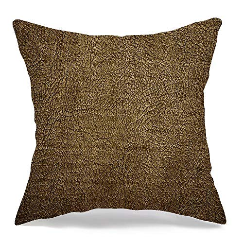 Starofeb Throw Pillow Cover Brown Antique Leather Interesting Vintage XXL Dark Cowhide Old Pattern West Skin Western Wild 1940 Modern Linen Decorative Pillow Cushion Case Home Decor 18 x 18 Inch
