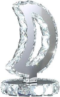 Osairous Lámpara de mesa LED de cristal K9, luz de mesita de noche minimalista moderna de acero inoxidable, lámpara de escritorio LED de cristal, lámpara de luna (luz blanca fría)