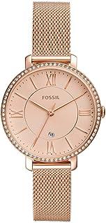 Fossil Women's Jacqueline Stainless Steel Dress Quartz Watch One Size Rose Gold Glitz Mesh
