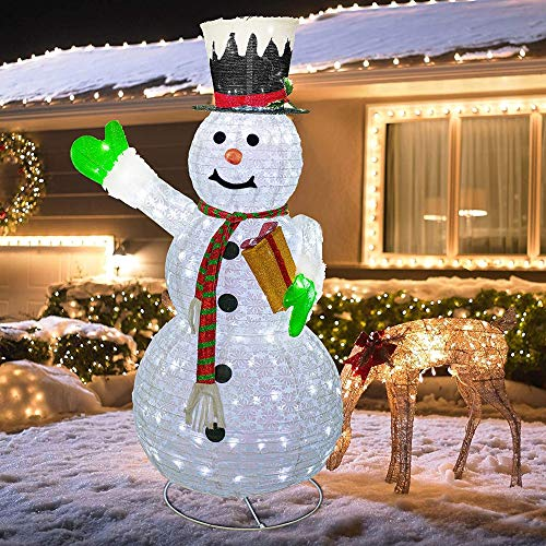 Hourleey Christmas Lighted Pop Up Snowman Decoration, 6FT 200 LED Collapsible Easily Metal Stand Easy-Assembly Reusable for Holiday Xmas Indoor Outdoor Decor