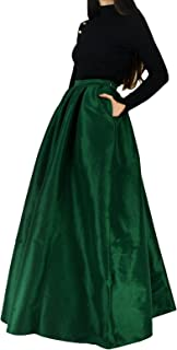 Women's High Waist A-Line Pleated Maxi Skirts Party Swing Skirt with Pockets