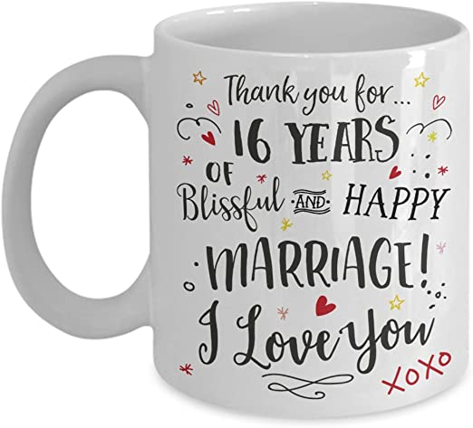 Amazon Com 16th Wedding Anniversary Gift Mug Blissful Happy Marriage Cup Wife Or Husband Present 16 Sixteen Years Married Sixteenth Year Anniversary Cup Kitchen Dining