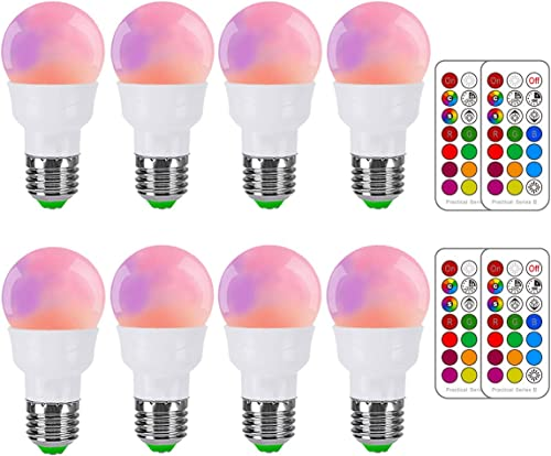 RGB LED Light Bulb, Color Changing Light Bulb, 40W Equivalent, 450LM Dimmable 5W E26 Screw Base RGBW, Mood Light Floo...