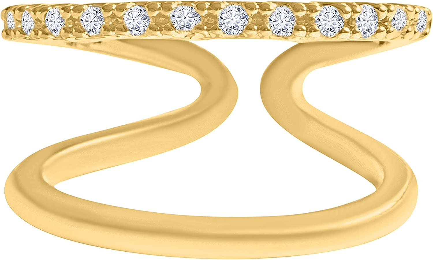 ONDAISY Simulated Diamond Cz Egyptian Double Line First Mid Pinky Adjustable Band Ring