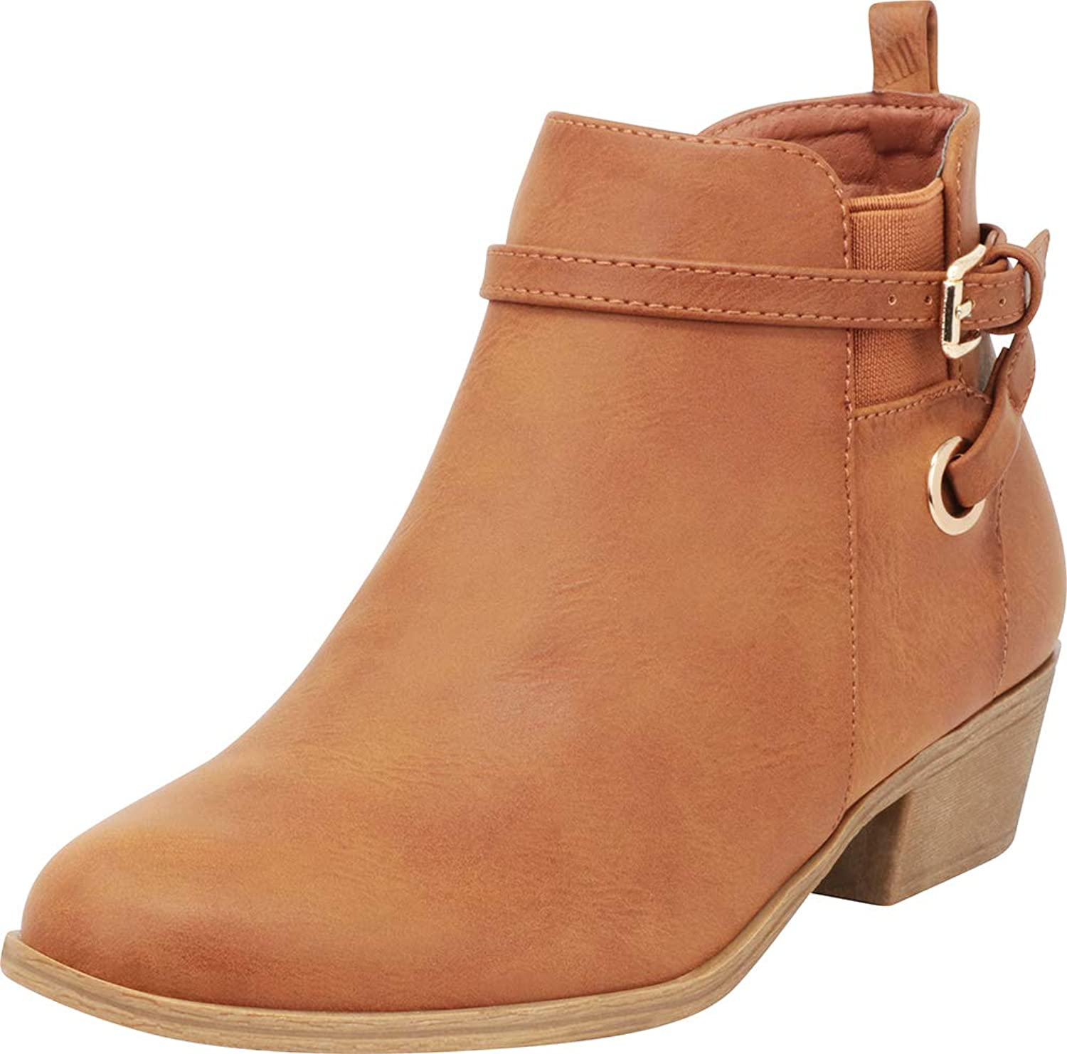 Cambridge Select Women's Chelsea Stretch Wraparound Strappy Chunky Block Heel Ankle Bootie