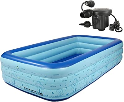 """ZornRC Inflatable Thickened Swimming Pool, PVC Folding Durable Family Leisure Children Pool Adult Bath Tubs 120"""" X 71"""" X 23"""" Full-Sized Suitable for In/Outdoor Water Activities Electric Pump(Included)"""