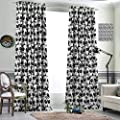 DRAGON VINES Insulated Solid Grommet top Blackout Window Curtain Monochrome Illustration of Pandas Indigenous Chinese Endangered Spices Black White Prevent Light from Shining Set of 2 Panels