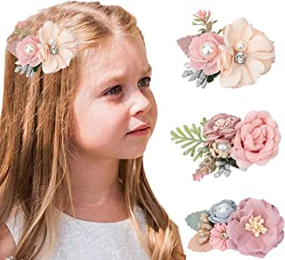 Baby Girls Floral Hair Clip Lightweight Flower Hair Accessories with Boutique Fully Lined Alligator Clips for Toddler Teen...