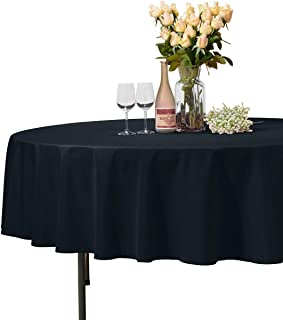 VEEYOO Round Tablecloth 100% Polyester Circular Bridal Shower Table Cloth – Solid Soft Dinner Table Cover for Wedding Party Restaurant (Navy Blue, 70 inch)