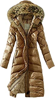 LvRao Womens Long Down Coat for Winter with Faux Fur Hooded Slim Fit Zipper Puffer Parkas for Ladies Outerwear