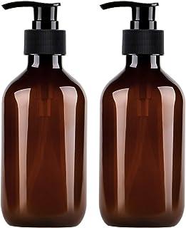 Yebeauty Pump Bottle, Shampoo Pump Bottles 10oz/300ml Refillable Empty Amber PET Plastic Shampoo, Conditioner & Wash Shower Dispenser Pump Bottle- Pack of 2