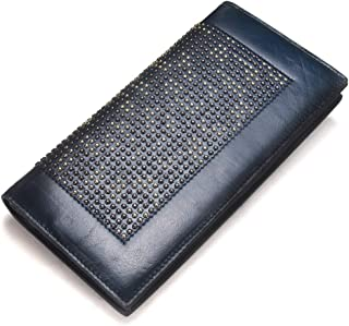 Leather Women's Wallet Leather Long Oil Wax Leather Diamond Clutch Casual Leather Wallet Waterproof (Color : Blue, Size : S)