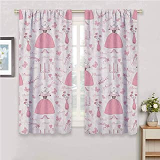 Princess Curtain Panels Pattern with Accessories of Princess Mystic Candles Bouquet Dress Shows Curtains for Bedroom Rose Pale Pink White 72 x 45 inch