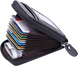 Credit Card Wallet with Zipper, Genuine Leather RFID Credit Card Holder for Women Ladies Wallets