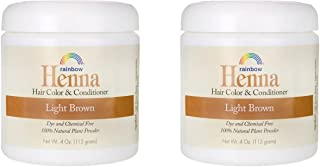 Rainbow Research Henna Light Brown Hair Color and Conditioner (Pack of 2) With Indigofera, 4 oz. each.