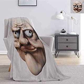 Luoiaax Humor Children's Blanket Grumpy Internet Troll Face with Trippy Gestures Ugly Post Meme Joke Image Lightweight Soft Warm and Comfortable W60 x L70 Inch Egg Shell and Tan