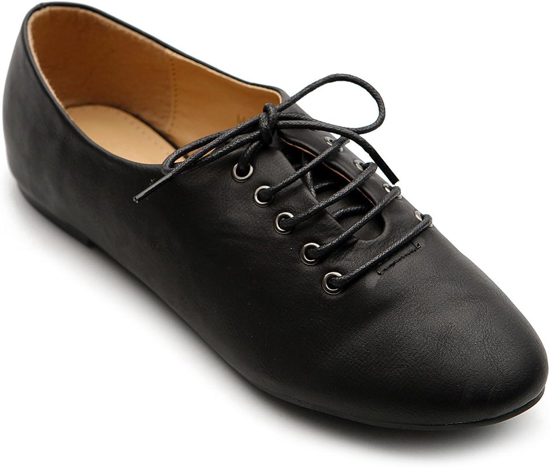 Ollio Women's Ballet Flat shoes Lace Up Multi color Oxford