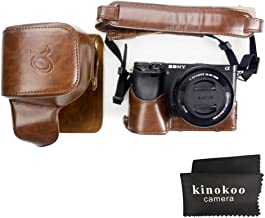 kinokoo Leather Camera Case for SONY A6300 A6000 and 16-50mm lens with shoulder strap cleaning cloth  coffee