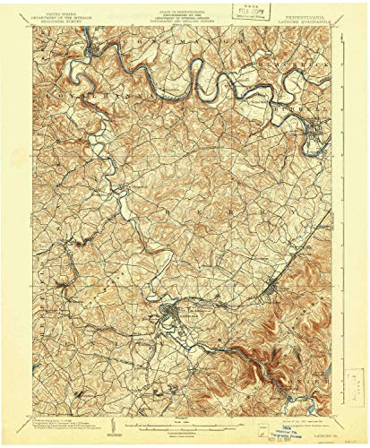 YellowMaps Latrobe PA topo map, 1:62500 Scale, 15 X 15 Minute, Historical, 1903, Updated 1941, 20 x 16.5 in - Tyvek