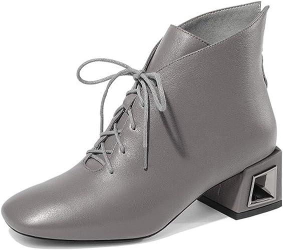RLYAY Femmes Hauts Talons Chaud Lacing Bottines Chaussures De Travail Décontracté Noir gris