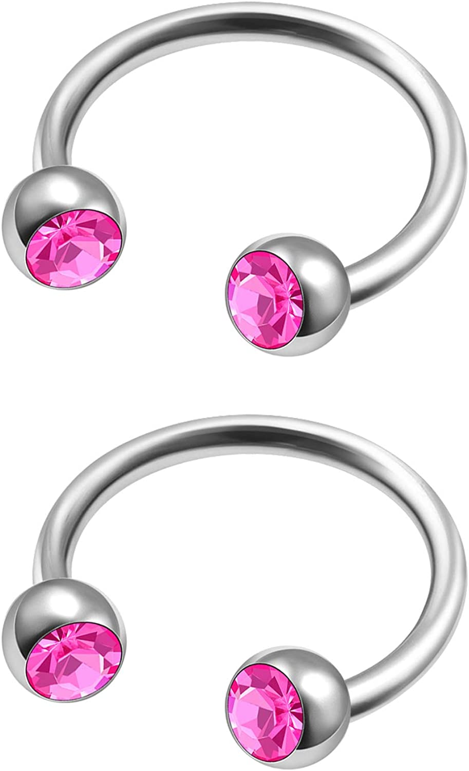 MATIGA 2Pcs Steel 5/16 8mm 20g Horseshoe Barbell Piercing Jewelry Septum Nose Eyebrow Tragus Cartilage 3mm Crystal Ball More Choices