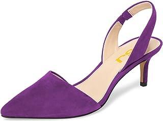 0429c1e7f0c FSJ Women Fashion Low Kitten Heels Pumps Pointed Toe Slingback Sandals  Dress Shoes Size 4-