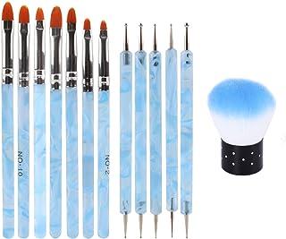 Kalolary 13 STKS Uv-gelnagelborstel, Acryl nagelborstel Nagel Dotting Pen Nail Art Dust Remover Brushes voor Nagelsalon Th...