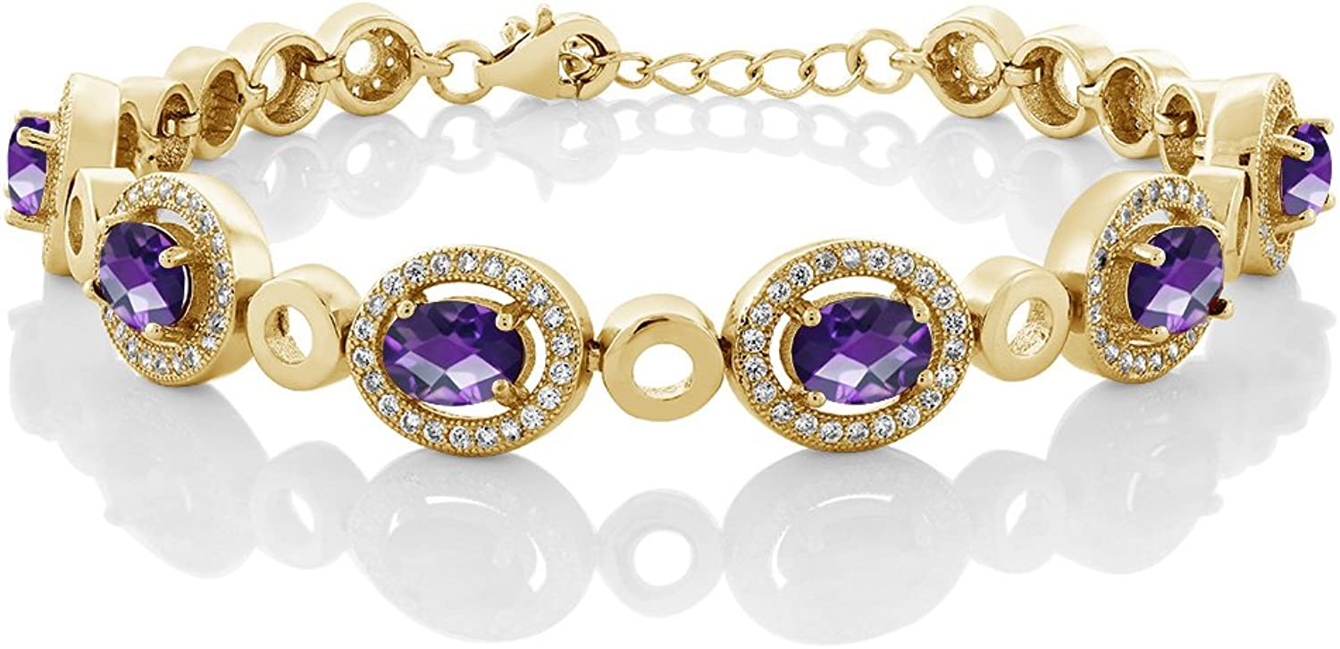 6.42 Ct Oval Checkerboard Purple Amethyst 18K Yellow gold Plated Silver Bracelet