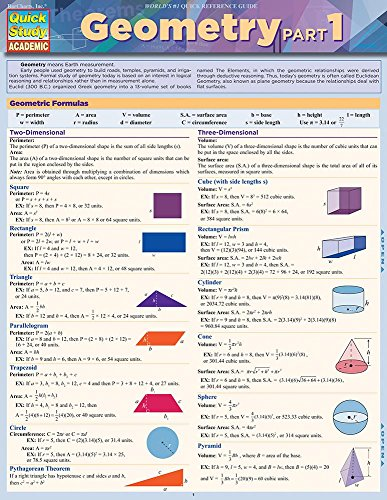 Geometry Part 1: Quickstudy Laminated Reference Guide (Quick Study Academic)