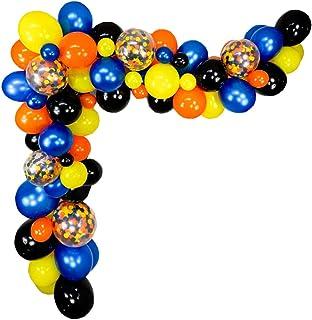 Superhero Party Supplies Balloon Garland Kit Arch - 90 Pack Blue Yellow Orange Black Balloons for Kids Birthday Party Favo...