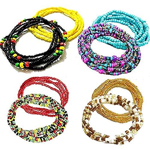 OWQ 8 Piece Summer Jewelry Waist Bead Set Colorful Waist Bead Belly Bead African Body Chain Beaded Chains Bikini Jewelry for Woman